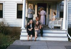 Original vintage red border Kodachrome 35mm color photo slide transparency..an all American family on the porch on a summer afternoon..1950s  ** 2 x 2   I have a passion for vintage photographs, snapshots, vernacular and found photos and paper ephemera. Its a way of preserving and connecting with the past.  Old photos can be used for interior wall hangings, altered art and mixed media projects, for greeting cards and for collecting. Vintage photos are a snapshot moment in time and each one…