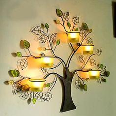 pared de metal decoración de la pared del arte, la decoración de la pared del bosque del árbol candelabro - MXN $ 1,167.05