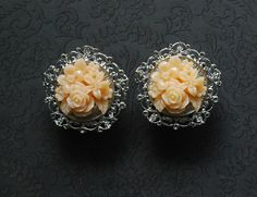 """Peach Rose Bouquet with Silver Filigree Feminine Plugs - 5/8"""", 3/4"""", 7/8"""", or 1"""" - Perfect for a Wedding"""