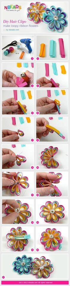DIY Hair Clips - Make Loopy Ribbon Flowers diy crafts craft ideas easy crafts diy ideas diy crafts diy flowers easy diy craft decorations Ribbon Art, Ribbon Crafts, Flower Crafts, Ribbon Bows, Diy Flowers, Fabric Flowers, Ribbons, Ribbon Flower, Diy Ribbon