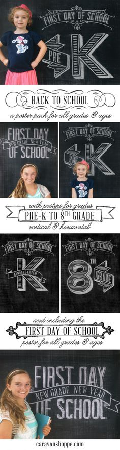 First day of school printables. Package comes with a poster for each grade thru 8th and an additional generic grade poster. You buy the file, then have them printed.
