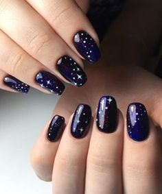 Creative Blue Nail Art Designs for Night Parties