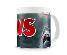Jaws Movie Mug - celebrate this awesome movie with this mug featuring a wrap around image of the #movie poster. A true #treat for any #Jaws fan.