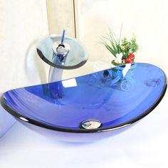 Kaufen (EU Lager) Modern Blau Oval Glas Waschbecken mit Wasserfall Armatur Set mit Günstigste Preis und Gute Service!