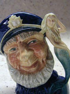Vintage Royal Doulton Toby Mug Character Jug Old Salt with Mermaid Handle 1960 England.