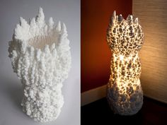 'Shio is a series of extraordinary lamps crafted entirely from pure salt by Daniel MacDonald's Seattle-based Studio Shio. Inspired by the dramatic landscapes of Yellowstone Park, MacDonald harnesses the same natural physics behind the intricate mineral formations found in hot springs and geysers to craft the organic, ethereal lights.' (via Inhabitat)