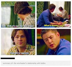 Summary of the Winchester boys and their relationship with Bobby.:
