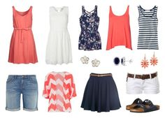 Summer capsule wardrobe - coral, navy & white by sewinge on Polyvore