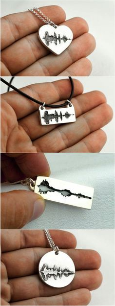 """Sound wave necklaces are amazing! You record yourself saying something like """"I love you"""" and then the waves are transcribed on a gorgeous pendant. These are amazing gifts would be perfect for wedding gift for parents and fiance Cool Gifts, Diy Gifts, Best Gifts, Amazing Gifts, Unique Gifts, Sound Waves, Boyfriend Gifts, Necklace For Boyfriend, Boyfriend Ideas"""