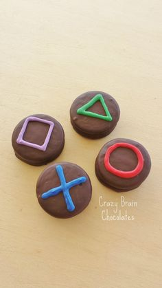 PlayStation Chocolate Covered Oreos (12) by CrazyBrainChocolate on Etsy