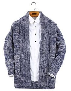 UNbox Men's Shawl Collar High-Low Hem Long Cardigan Knitted Sweater Mens Shawl Collar Cardigan, Long Cardigan, Sweater Cardigan, Men Sweater, Girls Sweaters, Sweaters For Women, Cardigans, Sweater Fashion, Sweater Outfits