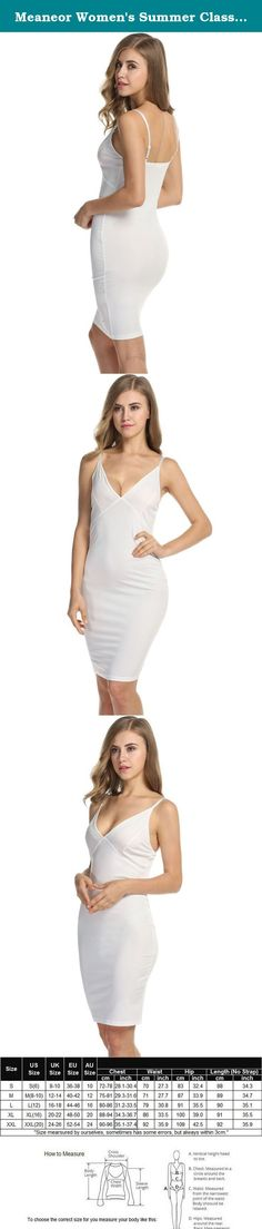 """Meaneor Women's Summer Classic V Neck Sleeveless Bodycon Mini Tank Dress, White/XL. Meaneor Women Spaghetti Strap Bodycon Dress V Neck Floral Bandage Midi Dress S-XXL (FBA) A """"must-have"""" item for your sexy wardrobe, Stylish, fashion and unique design. It is very comfortable to touch and wear. Ideal gift for your family, lover and friend , Suitable wear in summer, autumn and Spring, winter. We provide a variety of dresses, skirts, t shirt, tops, shorts, jacket, please click on our brand..."""