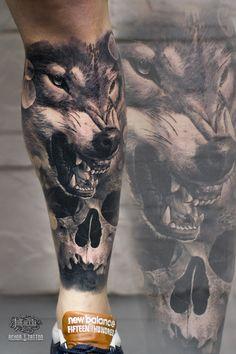 Lion Tattoo Sleeves, Wolf Tattoo Sleeve, Leg Tattoo Men, Full Sleeve Tattoos, Tattoo Sleeve Designs, Tattoo Designs Men, Leg Tattoos, Body Art Tattoos, Wolf Face Tattoo