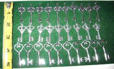 60 silver wedding keys 2 to 1 3/4 metal replica old antique vintage look charm