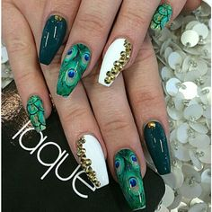 Peacock feathers green white gold coffin ballerina nail art