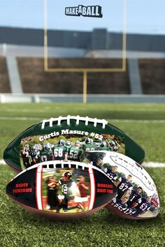 Customized footballs with personal photos, texts and unique designs. They come in regular and medium sizes on beautiful synthetic pebble leather. The panel that contains the design will have a full, smooth and glossy finish. They make perfect gifts for coaches and football players for senior night.