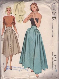 McCall's 8715 Vintage 50's Sewing Pattern STUNNING Built Up Waist Smooth Front Panel, Gathered Hips New   Look Ball Gown Skirt, Evening Skirt Set
