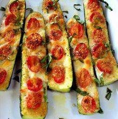 Receita de Abobrinhas gratinadas e com tomate cereja