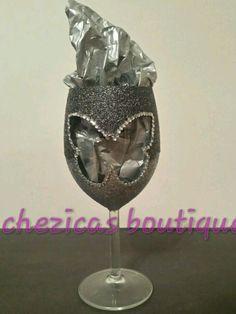 Personalised Butterfly Glitter Wine Glass