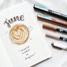 27 Coffee Bullet Journal Theme Inspirations & November Plan With Me Bullet Journal 101, Bullet Journal Cover Page, Bullet Journal Themes, Bullet Journal Spread, Bullet Journal Layout, Journal Covers, Bullet Journal Inspiration, Art Journal Pages, Journal Ideas