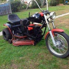 Add a beer holder and a stripper on the handlebars and your husband will be cutting grass until the cows come home...