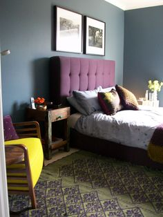 Dar Inky Blue (Dulux) bedroom, mixed with dark purple, green. Bedside 40x40cm Table from Little Tree Furniture UK. made of reclaimed vintage Indian Sea Boat timbers. Anthropologie rug. Ligne Roset chair. Abigail Ahern faux flowers