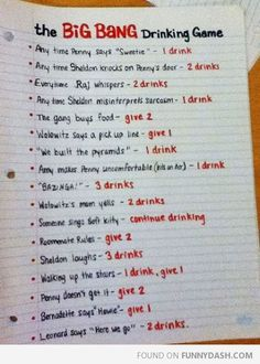 Big bang theory drinking game