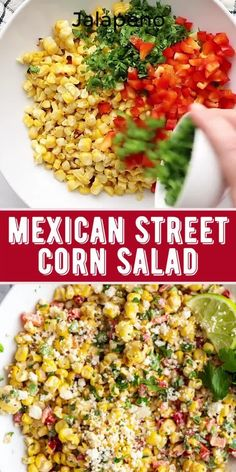 This Mexican Street Corn Salad comes together in one big bowl and is SO simple to make! The perfect summer side dish! Mexican Street Corn Salad, Mexican Salads, Mexican Food Recipes, Vegetarian Recipes, Cooking Recipes, Healthy Recipes, Best Mexican Street Corn Recipe, Mexican Food Appetizers, Healthy Mexican Sides