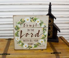 Scripture Wood Sign, Bible Wooden Sign, Trust in the Lord With All Your Heart, Proverbs 3:5 Bible Verse, Rustic, Floral Wreath, Daisies Sign by TinSheepShop on Etsy