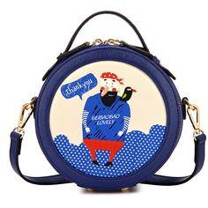 Chicnova Fashion Round Cross Body PU Bag (770 CZK) ❤ liked on Polyvore featuring bags, handbags, shoulder bags, round purse, crossbody handbags, top handle purse, top handle handbags and blue handbags
