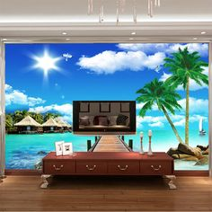 Ocean scenery Coconut Photo wallpaper 3D Seascape Wall Mural Custom Wallpaper Designer Murals Kids Room Decor wall Art Bedroom