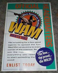 """1990's X-Men Wolverine poster! Rare vintage original 36 by 24 inch """"Wild Agents of Marvel"""" Fan Club Marvel Comics promotional promo poster 1"""