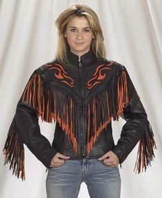 e5ee2b1fb6a Racer FLAME Orange fringe leather Jacket Fringe Coats
