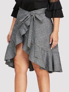 568160fce Ruffle Hem Knot Front Wrap Skirt -SheIn(Sheinside) Plus Size Skirts, Knots