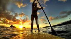 Sunrise paddle to Nā Mokulua, Oahu, Hawaii.