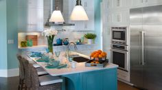 HGTV Smart Home 2013 Kitchen W/listing of Sherwin Williams colors ~ the blue I like here is SW6478 Watery (the lighter blue) The darker blue is Drizzle