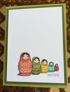 Matryoshka Dolls from the set Today and Everyday by Stampin' Up! This is a very clean and simple card, BUT I was playing with my new Blendabilities markers, so I learned as I played.  Card by Beverly Stewart