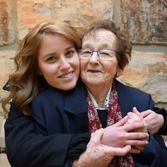 Holocaust survivor Elka Abramovitz with her granddaughter before the opening ceremony of Holocaust Remembrance Day at Yad Vashem. Each year, six Holocaust survivors are chosen to light torches in memory of the six million Jews who were murdered during the Holocaust. Elka Abramovitz will be lighting one of the torches today.