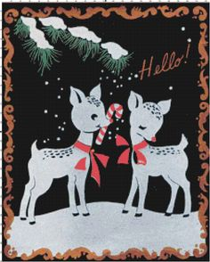 Retro reindeer with candy canes cross-stitch pattern from Bella Stitchery #reindeer #crossstitch
