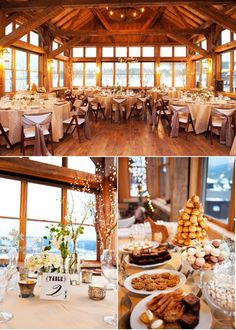 Rustic Rehearsal Dinner With Big Windows Surrounding Guests To Show The Winter Scenery.