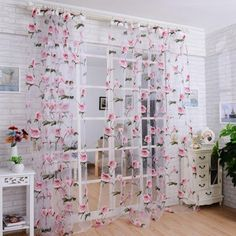 DZT1968 1PC White Printed Flower Lace Chiffon Tulle Sheer Window... ($5.26) ❤ liked on Polyvore featuring home, home decor, window treatments, curtains, white lace curtains, sheer panels, door curtains, white curtains and sheer lace curtains