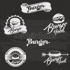 Бургеры логотип набор в винтажном стиле. Векторные иллюстрации с буквами. Ретро руки drawn коллекция логотипов бургер