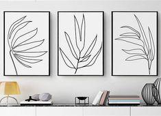 Scandinavian Modern Black And White Set of 3 Prints Leaf Print Minimalist Art Instant Download Line Art 24x36 Poster Line Drawing Sketch Art