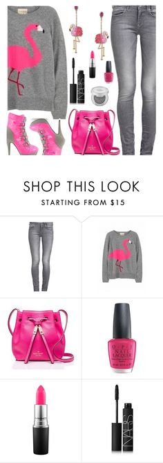 """""""Grey & Pink"""" by deborah-calton ❤ liked on Polyvore featuring GUESS, Kate Spade, OPI, MAC Cosmetics and NARS Cosmetics"""