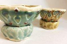 One-of-a-kind handmade pottery by Gabrielle Gewirtz. Colorful and Earthy. Pinch Pots, Handmade Pottery, Ceramic Pottery, Earthy, Glaze, Trail, Cups, Salt, Stuffed Peppers