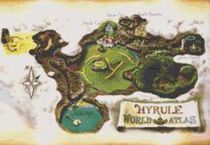 Zelda OoT Hyrule Map Cross Stitch Pattern