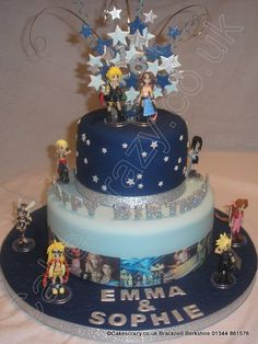 Final Fantasy Cake. Straight out of the world of Spira. This two tier celebration cake is finished with a image strip with characters from the game, and set of non edible figurines placed on the cake. Finished with a glitter wired topper and glitter Happy Birthday letters