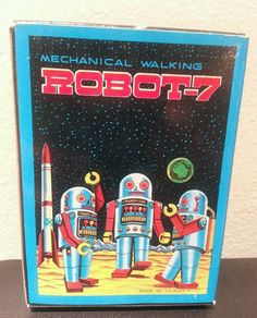 Tin Litho Silver Mechanical Wind-up ROBOT-7, made by Noguchi (N), Taiwain In BOX