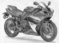 yamaha 2009 by on DeviantArt Dark Art Drawings, Anime Drawings Sketches, Car Drawings, Bike Sketch, Car Sketch, R1 Moto, Yamaha R1 2009, Motorbike Drawing, Yzf R125