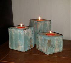 Wood Block  Tea Light Candle Holders by WarzalaRusticDesign